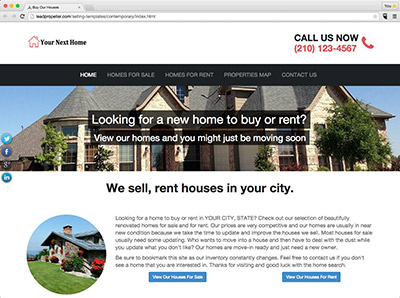 real estate investor website templates for selling and renting houses