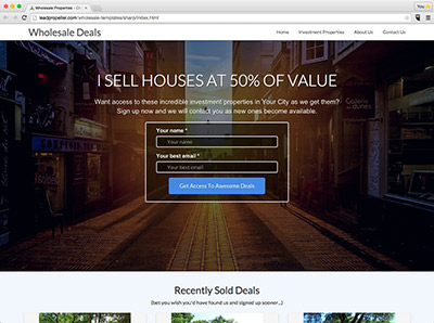 real estate investor website templates for wholesaling houses and building your buyers list