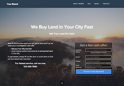 real estate investor website templates for buying land