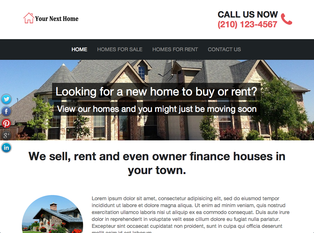Best Real Estate Investor Website Templates - Template for selling a house