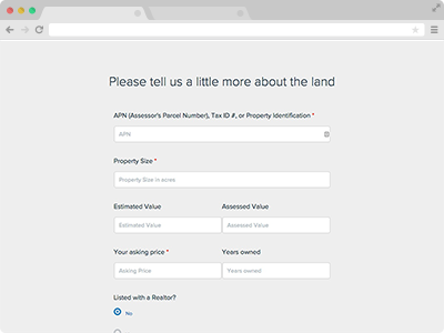 land buying website form