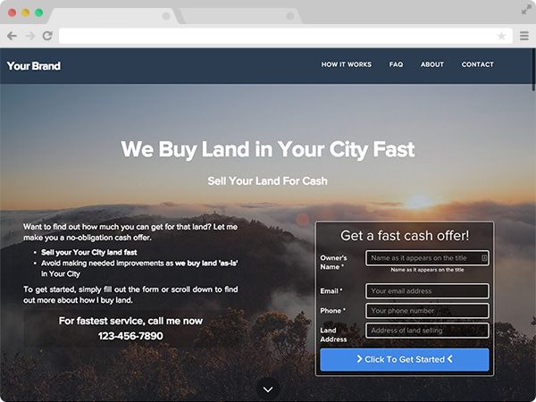 Clean Land BuyingReal Estate Investor Website Template