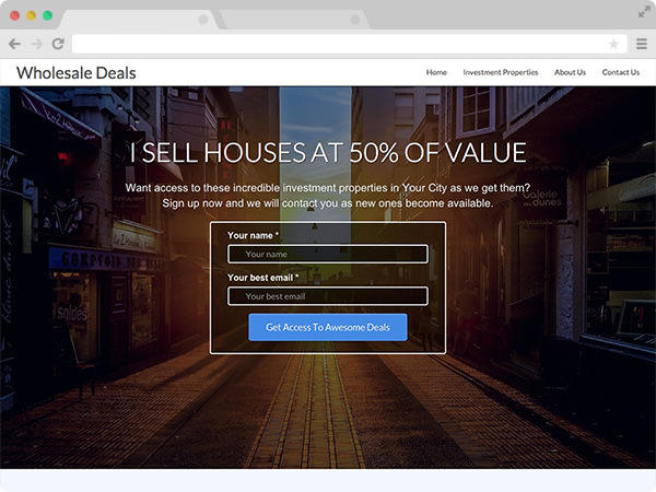 Sharp Wholesaling Real Estate Investor Website Template